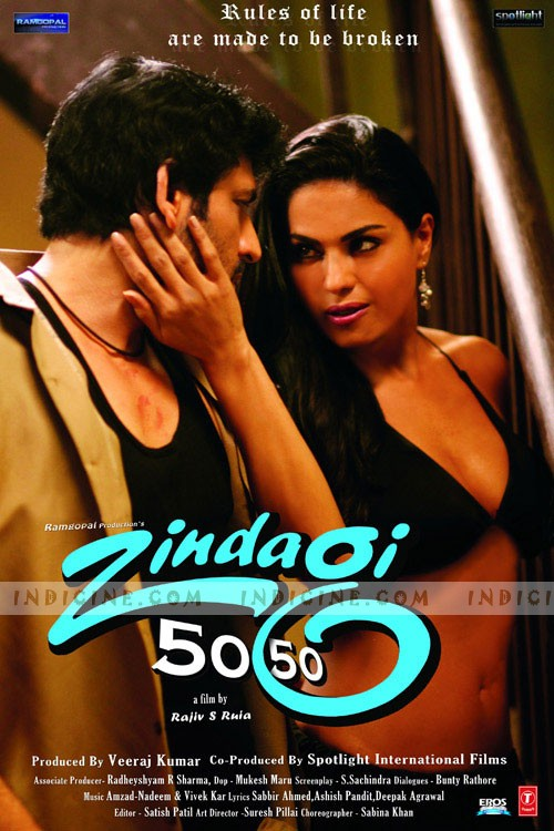 Rating: 3.4/10 Genre: Drama Director: Rajiv S. Ruia Release Date: 24 May 2013 Cast: Arya Babbar, Kurush Deboo, Adi Irani, Veena Malik, Riya Sen Storyline: Zindagi 50 50 has three stories of common people's special dreams. And to fulfill those dreams they have to struggle hard. Sometimes few get it easily, where most of them must struggle very hard with lots of sacrifice, values, principals to achieve their dreams. Among them only few get it after long struggle time where most of them have to loose everything with a failure tag. That is Zindagi (life) 50 – 50.